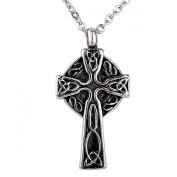ZARABE Cremation Jewellery Trinity Knot Celtic Cross Urn Necklace Pendant Memorial Ash Keepsake