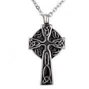 ZARABE Cremation Jewellery Trinity Knot Celtic Cross Urn Necklace Pendant Memorial Ash Keepsake