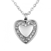 ZARABE Crystal Heart Urn Necklace Pendant Memorial Ash Keepsake Cremation Jewellery