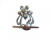 Antique Silver Flower Toggle Clasps - 10 Sets