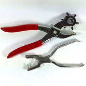 Leather hole punch pliers combo set, small and large hole makers