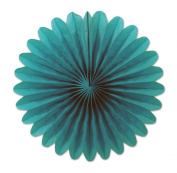 Club Pack of 72 Festive Turquoise Mini Tissue Paper Fan Hanging Party Decorations 15cm