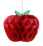 HEARTFEEL Pack of 5 Honeycomb Apple Tissue Honeycomb Hanging Apples Decorations Back to School Theme Fruit Decoration Garden Room Decoration Party Favours