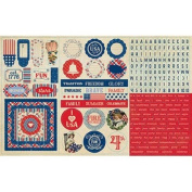 Authentique Paper Element Mini Words, Alpha, Frames, Icons Freedom Cardstock Stickers, 30cm x 20cm
