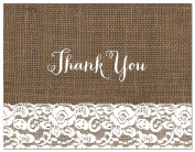 50 Cnt Lace Trimmed Burlap Wedding Thank You Cards