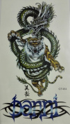 Temporary Tattoo Dragon & Tiger size 10cm x 18cm Non-toxic and waterproof realistic tattoo stickers.