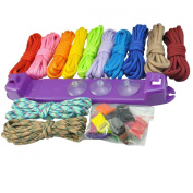 UCEC Parachute Cord Jig Bracelet Wristband Plastic Maker Loom - Paracord Braiding Weaving DIY Craft Tool Kit - 12 Rainbow Colour Cord and Buckles