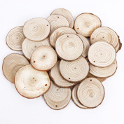 25pcs 5cm Wooden Wood Log Slices Discs Natural Tree Bark Table Decorative Wedding Centrepieces - Roudn Shape