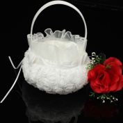 AllHeartDesires White Rose Rosette Satin Flower Girl Basket Wedding Ceremony Part Decoration