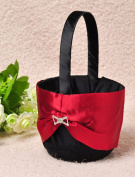 AllHeartDesires Black and Red Satin Flower Girl Basket with Rhinestone Brooch Wedding Favour