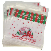 X'mas Christmas Cookie Candy Party Gift Bags with Self-Adesive, Pakc of 95, Various Design