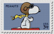Peanuts Snoopy Flying Ace USPS Postage Stamp Counted Cross Stitch Pattern