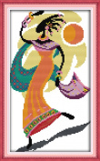 Sunny World Counted Cross Stitch 9- Inch By 16- Inch, African Style Beauty Dancing in the Sun