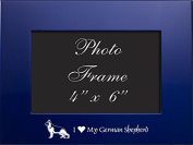 4x6 Brushed Metal Picture Frame-I love my German Shepherd-Blue