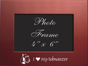 4x6 Brushed Metal Picture Frame-I love my Schnauzer-Red