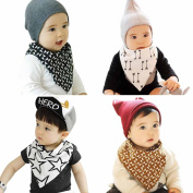 Marca west 4-Pack Unisex Double Sided Cotton Bandana Drool Bibs Scarf Triangle Baby Bibs With Snaps For Baby Toddler