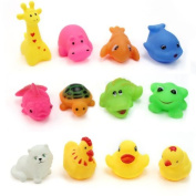 12 pcs/Lot Different Animal Bath Toys Washing Education Toys for Children Bath time