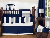 Modern Navy Blue and Grey Stripe Print Boys Baby Bedding 9 Piece Crib Set with Bumper