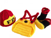 Pinbo® Baby Boys Girls Photography Prop Crochet FD Fireman Hat Nappy Boots