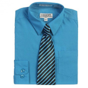 Turquoise Button Up Dress Shirt Black Striped Tie Set Toddler Boys 4T