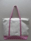 50cm Cotton Canvas Bag Duty Deluxe Tote Bag - Purple White