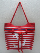 Anchor & Stripes Tote Bag with Rope Handles - Red