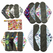 13pcs Set 1pc Mini Wet Bag + 12pcs Charcoal Bamboo Mama Cloth/ Menstrual Pads/ Reusable Sanitary Pads