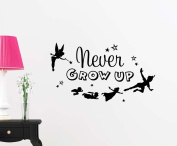 Never grow up cute fairy playroom sticker nursery vinyl saying lettering wall art inspirational sign wall quote decor
