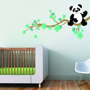 Panda and Cherry Blossom Branch Wall Decals, Boys Bedroom Panda Wall Stickers, Nursery Removable Vinyl Decal