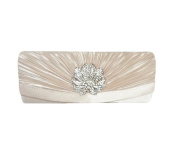 TdZ Formal Satin Crystal Flower Feature Party Clutch 25cm w/Strap
