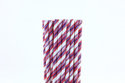 Pink and Blue Striped Wave Paper Straws