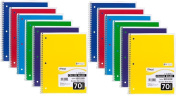 Mead Spiral Notebook, College Ruled, 1 Subject, 70 Sheets, 20cm x 27cm , Assorted Colours, 24 Pack