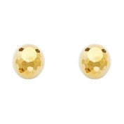 14k Yellow Gold Diamond Cut Ball Earrings