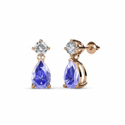Pear Tanzanite and Diamond (SI2-I1, G-H) Dangling Stud Earrings 1.20 ct tw in 14K Rose Gold