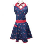 Hyzrz Cute Lovely Lady's Kitchen Fashion Blue Flirty Apron for Women's Girls with Pocket