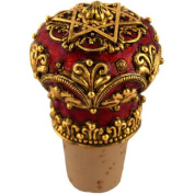 Quest Collection Star of David Red Gold Filigree Pewter Wine Stopper