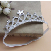 KAKA(TM) Baby Girl's Cute Imperial Crown Headbands-Silver White
