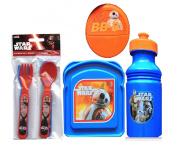 Star Wars 3pc Reasuable Lunch Box Set! Plus Bonus Star Wars Flatware Set