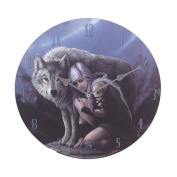 Anne Stokes Moon Tribe Princess Protector Grey Wolf 34cm Wall Clock Round Plate