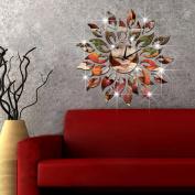 funlife® 45cm x 45cm Creative Quartz Ps Sun's Flame Mirror Wall Clock 3d DIY Art Home Decor