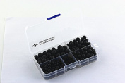 BRCbeads Black Lava Stone Natural Gemstone Loose Beads Round Value Box Set 340pcs Per Box for Jewellery Making (Plastic Container is Included)-4,6,8,10mm