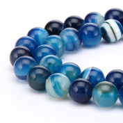 BRCbeads Gorgeous Natural Blue Stripe Agate Gemstone Round Loose Beads 10mm Approxi 15.5 inch 35pcs 1 Strand per Bag for Jewellery Making