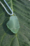 Light Green Beach Glass Sterling Silver Necklace