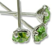 . Head Pin 2.5cm - 1.3cm Peridot Sterling Plated