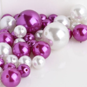 Wholesale Elegant Vase Fillers - Approx 42 Assorted Oversized Faux Pearls in Fuchsia and White Beads - Unique Decorative Gems