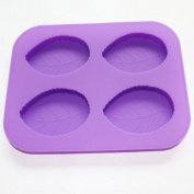 X-Haibei 4-cavity One Leaf Soap Silicone Mould Moulds Candle Making for Homemade Craft