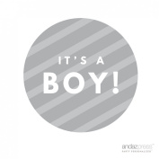 Andaz Press Round Circle Baby Shower Gift Label Stickers, It's A Boy!, Striped Grey, 40-Pack