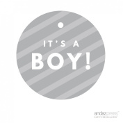 Andaz Press Round Circle Baby Shower Gift Tags, It's A Boy!, Striped Grey, 24-Pack