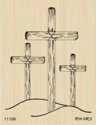 Three Wooden Crosses Rubber Stamp By DRS Designs