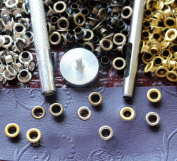 120pcs Eyelets Grommets Leathercraft with Setter Tools Kit , Silver/antique Brass/gold